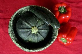 zucchini and red sweet pepper