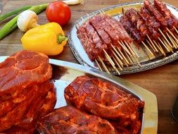 raw marinated meat for grilling