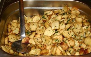 Fried potatoes on a dinner
