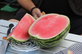 pitted sliced watermelon
