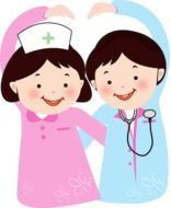 funny doctor and nurse as a graphic image