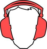clipart,picture of a man's head in red headphones