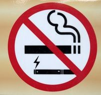 No Smoking including electronic Cigarettes, Sign