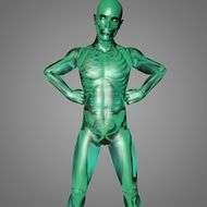 body anatomy on a green mannequin