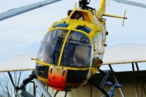 yellow rescue helicopter front view