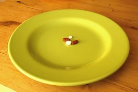 pills on a yellow plate