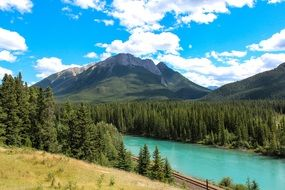panorama of the turquoise bow river in canada