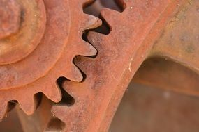 rusty gears close up