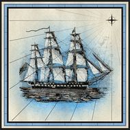 Ship Frigate drawing