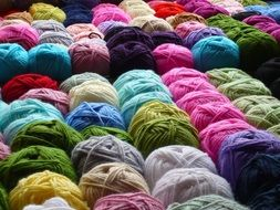 A lot of the colorful wool yarns