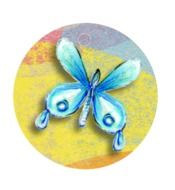 blue butterfly painted on wallpaper