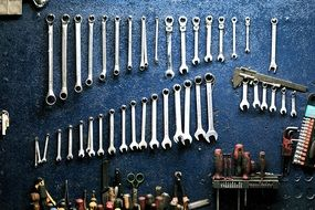 variety of tools and keys in the workshop