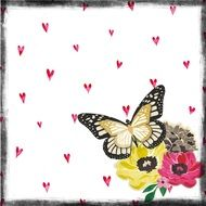 Scrapbooking, decorative Paper with Butterfly on Flowers