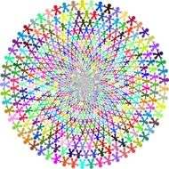 colorful circle with little men pattern