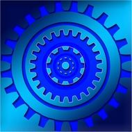 blue gears on a blue background