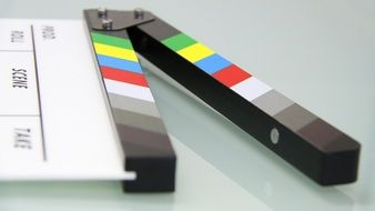 clapper board on the table