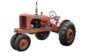 vintage red Rusty Tractor