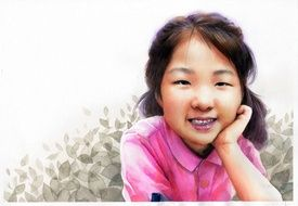 watercolor portrait of a smiling asian girl
