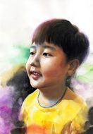 watercolour portrait of a young asian boy