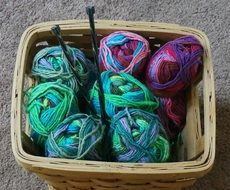 threads in a knitting basket