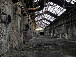 hall of an abandoned factory
