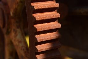 rusty gear close up