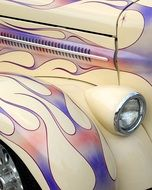 vintage car in colorful paint