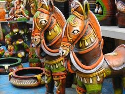 Decorative clay figurines in India