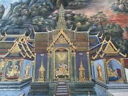 fresco of a big palace in thailand
