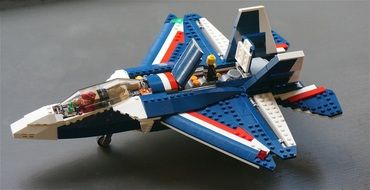 Lego fighter jet on the table