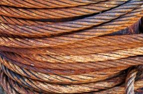 rusty Steel Cable close up