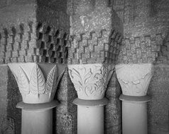black and white photo of columns with ornaments