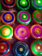 colorful multicolored can lids