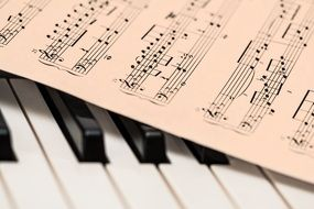 music sheet on Piano keys