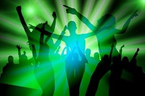 silhouettes of dancing girls in a bright green background