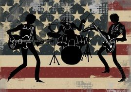 black silhouettes of american band