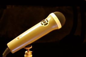 golden microphone on black