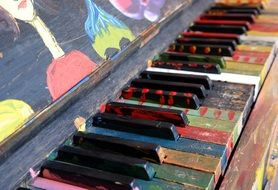 side view of the bright keys of a vintage piano