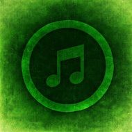 Musical Note symbol, green icon