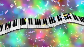 Piano Keys and colorful Music notes, digital art