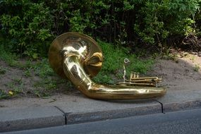 golden tuba on the ground in the park