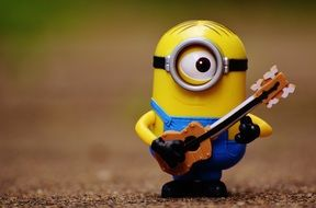 funny minion with guitar