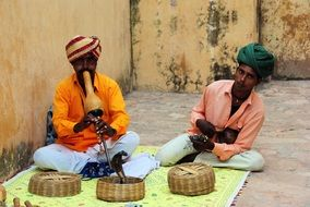 street performers with snakes in india