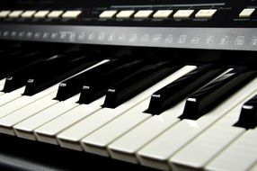 black and white Piano Keys, perspective
