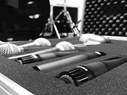 microphones are folded into the case