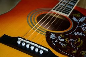 Photo of painted acoustic guitar with 6 string