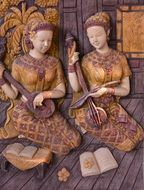 Women Playing Musical instruments, traditional thai art