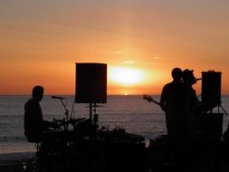 musical Band plays at Sunset Sea