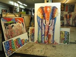 paintings with elephants in the gallery