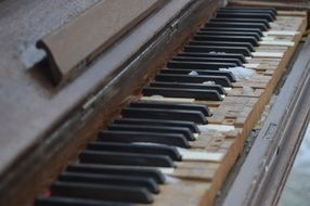 side view of old piano keys